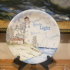 """New listing MWW Market Religious Lighthouse-Themed Ceramic Plate - """"He is the Light"""""""
