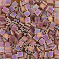 Miyuki Tila Seed Beads Cuadrado Mate Transparente Dark Topaz AB 7.2 G Tubo (d95/4)