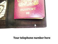 Passaporto in Pelle portafoglio personalizzato con: se la tua chiamata trovato (numero)