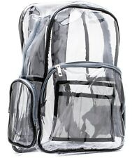 Gray Black clear backpack with pencil case - heavy duty, strong and durable!