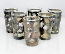Vintage Mexican Sterling Silver Overlay and Glass Insert Shot or Liqueur Glasses