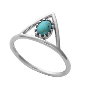 Sterling Silver Turquoise Natural Gemstone Statement Band Ring. Boho Jewellery
