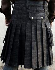 New Handmade adult Scottish Black Denim Utility kilt with  Fast Shipping