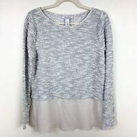 White House Black Market M Women's Sweater Blouse Top Shirt Gray