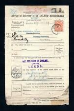 2d ROYAL CYPHER CDS USED ON 1915 REGISTERED LETTER DELIVERY FORM