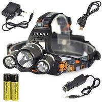 BORUIT 12000Lm 3X XM-L T6+2R5 LED Stirnlampe 2X18650 Kopf Licht USB EU Ladegerät