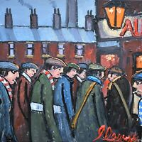 James Downie Original Oil Painting - Football Matchday Manchester United / City