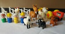 VTG Fisher Price Little People Farm Set Lot Animals Family Tractor Fence 915