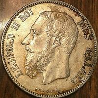 1871 BELGIUM LEOPOLD II ROI DES BELGES SILVER 5 FRANCS PIÈCE EN ARGENT
