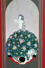 Erte 1987 SPRING DRESS of VENUS Kissing Doves Birds Wall Art Deco Matted Print