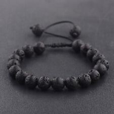 8mm Natural Lava Stone Yoga Mala Energy Adjustable Hand braid Bracelets Gift