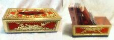 Mid Century VTG HOLLYWOOD Red Velvet Gold Plastic Rose Leave Kleenex Tissue Box