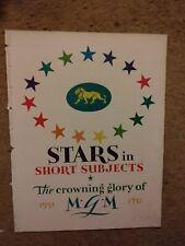 Vintage 1931-32 Hollywood memorabilia MGM Stars in Short Subjects press kit