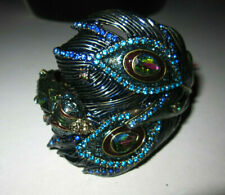 BETSEY JOHNSON PEACOCK FEATHER AND HEAD HINGED BRACELET