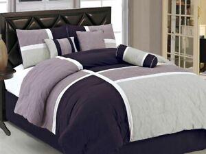 Purple Lavender Block Patchwork Hotel 7 pc Comforter Set Full Queen Cal King Bed
