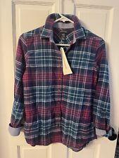Lands' End Womens Flannel Shirt Size XS Soft Cotton Plaid Blue Button Up Top NEW