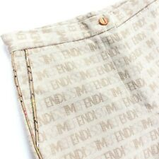 Fendi Fendissime Women's SPELLOUT Hi Rise Pants Leather Piping • Size 40   6 US