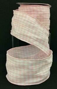 "Cotton MINI Check Wired Crinkle Ribbon~Light Pink, White~2 1/2""W x 10 yd"