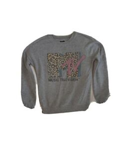 MTV Women's Top Long Sleeve Sweater Cheetah Logo Size XS 2019