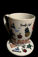 Disney Store  Mickey Beach Life Hawaii  Mug & Coaster Set  NEW