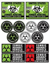 AMR Racing Zombie Hunting Permit Vinyl Response Team Sticker Car Decal 13 PACK