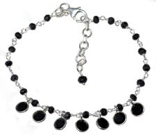 Sterling 925 SILVER Black Spinel Charms Bracelet Natural Stones Beaded Jewellery
