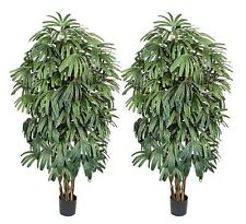 TWO 7' PrePotted Raphis Artificial Palm Tree Silk Plant