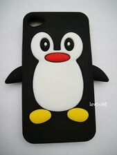 iPHONE 4 4G 4S - SOFT SILICONE RUBBER SKIN CASE COVER BLACK & WHITE PENGUIN