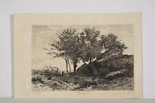 Gravure Eau-forte XIX° Tancède ABRAHAM, Matinée d'Octobre Vallée de Blaison 49