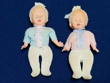 Vintage Miniature Celluloid Italian Roly Poly Eye Dolls With Clothes