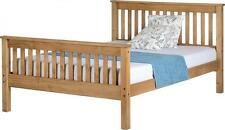 MONACO DOUBLE 4ft 6 HIGH FOOT END DISTRESSED WAX PINE WOOD BED FRAME - Free Del