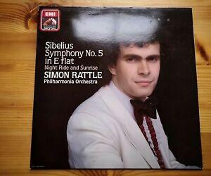 HMV ASD 4168. Sibelius: Symphony No.5. Simon Rattle. NM/EX. Fast Post!!
