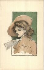 Beautiful Woman Rifle Gun Hand Colored Unsigned Postcard EXC COND