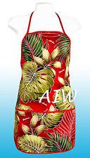 Unisex canvas Hawaiian floral print apron - 503Red