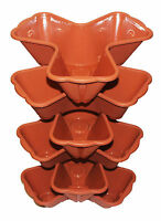 6 x Plastic Trio TERRACOTTA Stacking Plant Pot Stackable Flower Planter Pots