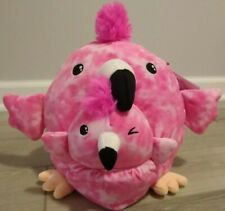 """2x New Squishmallows 8.5"""" & 4.5"""" Pink Flamingo & Baby in Pouch Soft Plush Toy"""