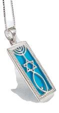 Sterling Silver Messianic Seal chain&pendant Israel Star David Menorah.Light Blu