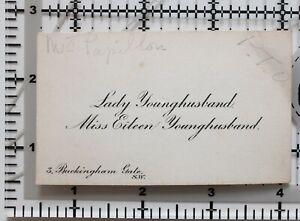 Antik Calling Card Lady Younghusband Miss Eileen 3 Buckingham Tor