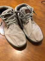 TOMS Gray Canvas Botas Lace Up High Top Sneaker Shoes Men's Sz 10 -Free Shipping