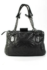 Chanel Vintage Quilted Leather CC Perfect Day Tote Shoulder Handbag Black