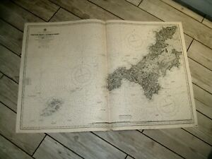 Vintage Admiralty Chart 2565 UK - TREVOSE HEAD to DODMAN PT + SCILLY IS 1920 edn