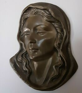 Bronze Lady Face Mask, Brass Wall Plaque, Metal Wall Hanging