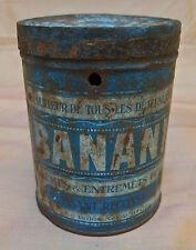 ancienne petite boîte ronde en tôle BANANIA période bleue 250 gr.