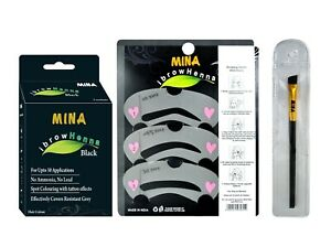 Mina ibrow henna black tinting kit with brush & stencils for ibrow colors