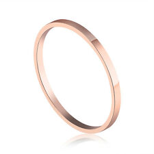 1 PCS Rose Gold GP Smooth Surgical Stainless Steel Band Ring Size H-Q Gift