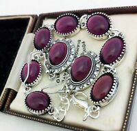 Vintage - Amethyst Purple Glass Small Oval Cabochon Bracelet Earring Set