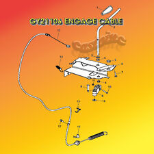 PTO Cable for JOHN DEERE: GY20156, GY2, Scotts Sabre L100 Series Riding Mowers.