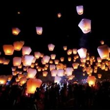 5 PCS Chinese Lanterns Sky Flying Candle Paper Wishing Lucky Wedding Party White
