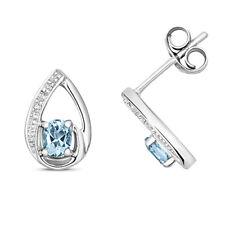 9CT AQUAMARINE DIAMOND  EARRINGS LADIES STUD 9 CARAT WHITE  GOLD