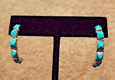 ZUNI CHUNK PYRAMID Turquoise SILVER 925 1/2 HOOP Earrings by Charlene Waikaniwa